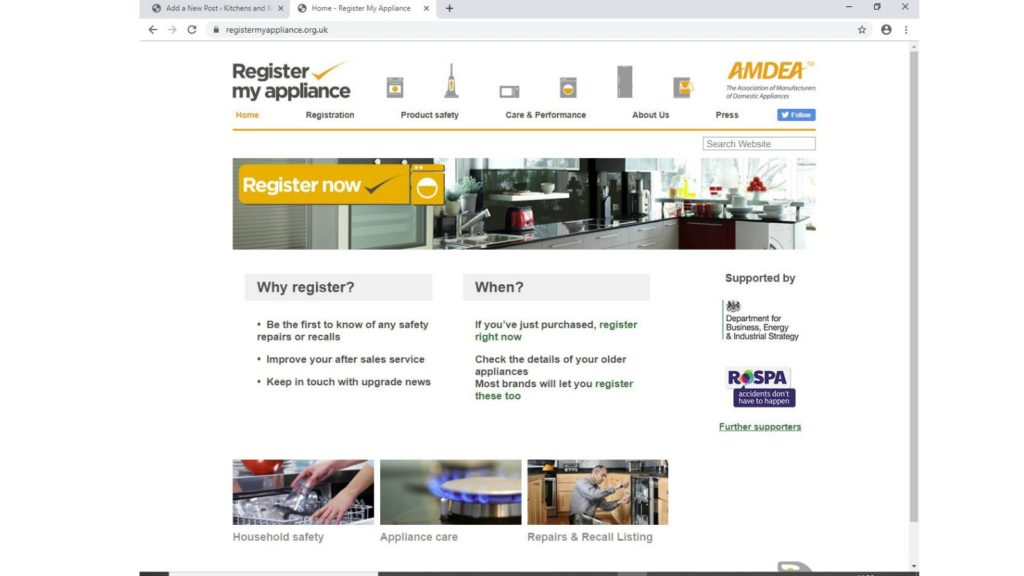 Register appliances in Product Safety Week