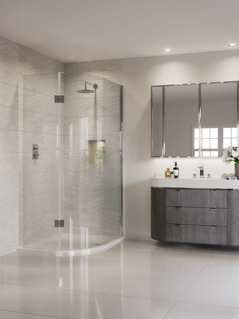 A new curved shower screen from Aqata